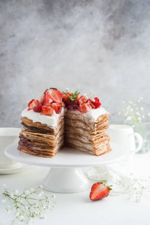 delicious pancake cake with strawberries
