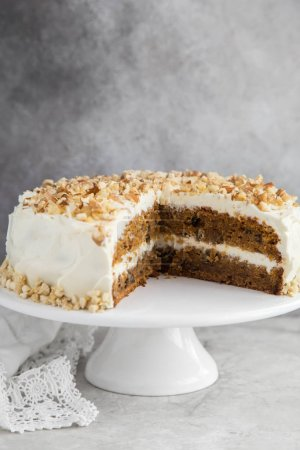 slice of carrot cake with cream cheese