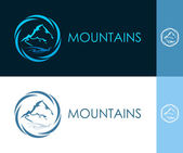 Round Icon with Mountain in Circle