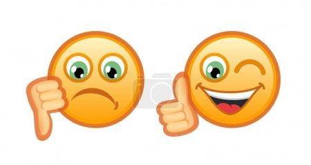 Sad and Joy Smileys isolated on white background. ...