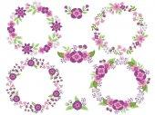 Vector Set of Floral Purple Wreaths