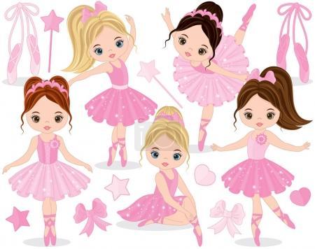 Vector Set with Cute Little Ballerinas