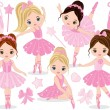 Vector set with cute little ballerinas, bows and b...