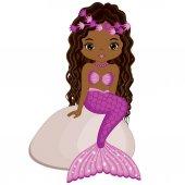 Vector Cute Little Mermaid Sitting on Stone Vector African American Mermaid