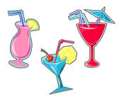Cocktail drinks seamless stickers vector illustration