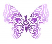 Silhouette of purple butterfly isolated on white background vector illustration