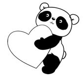 greeting card of panda with heart