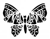 Silhouette of black butterfly isolated on white background vector illustration