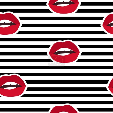 Illustration for Lips illustration, fashion textiles. seamless. lips seamless vector pattern - Royalty Free Image