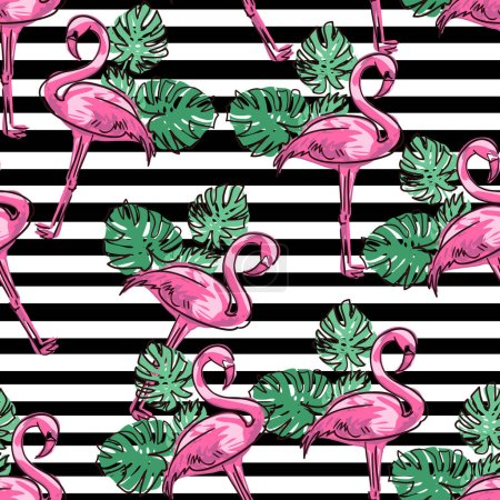 Background  flamingo sketch