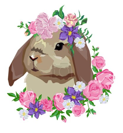 Hand Drawn rabbit with a floral wreath.