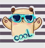 Cool print children's T-shirt with a bear illustration hand drawn bear with sunglasses