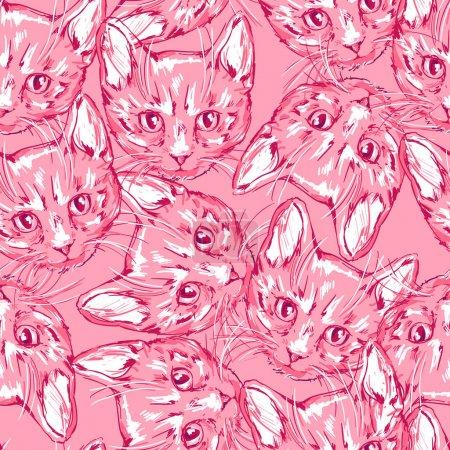 cats cute sketch pattern
