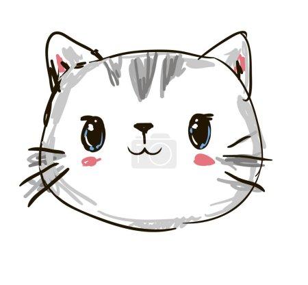 Illustration pour Illustration vectorielle de chat mignon dessin, conception d'impression chat, enfants, impression sur t-shirt. Illustration vectorielle de la dessiné main de chat. - image libre de droit