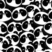 Hand-drawn seamless pattern background with panda Vector illustration
