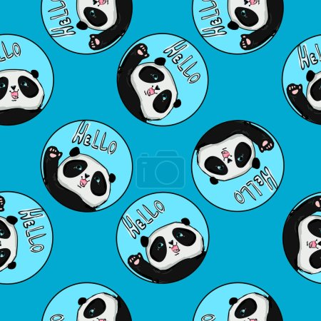 Illustration for Hand-drawn seamless pattern background with panda. Vector illustration - Royalty Free Image