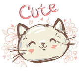 Cute cat sketch vector illustration