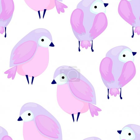 Cute birds seamless pattern isolated on white back...