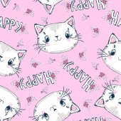 Repeated pattern of cute kittens and Happy words over pink background vector illustration