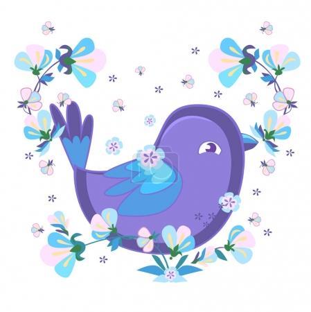 Cute purple bird