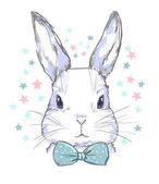 Hand Drawn Vector Illustration of Bunny rabbit with a flowers