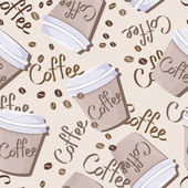 Coffee beans and coffee cups seamless pattern