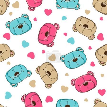 cute teddy bears seamless pattern