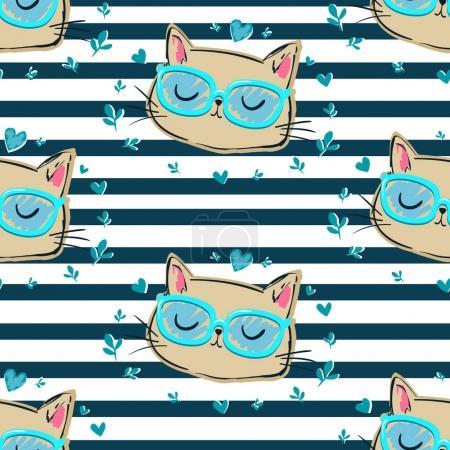 Illustration pour Chats mignons avec des lunettes motif sans couture, illustration vectorielle - image libre de droit