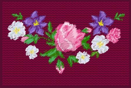 Embroidered colorful flowers border, vector illust...