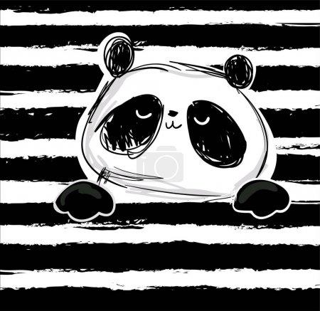 Illustration pour Impression panda design sur fond rayé, illustration vectorielle - image libre de droit