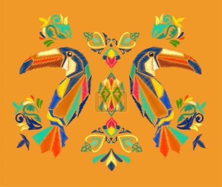 Illustration for Beautiful embroidery tropical theme, Toucans vector - Royalty Free Image