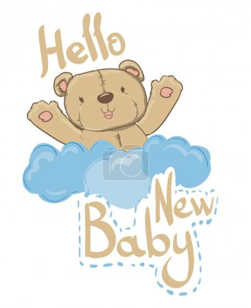 New Baby Card with cute bear