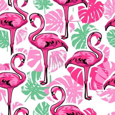 Flamingo seamless background , vector illustration...
