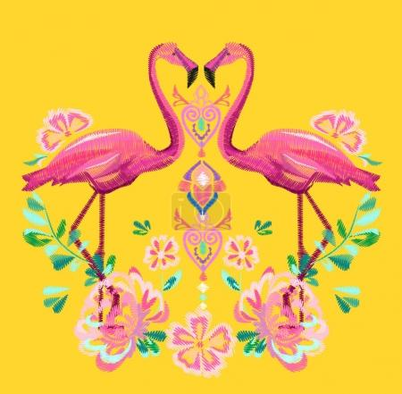 Beautiful embroidery tropical theme
