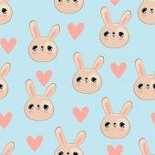 Cute rabbits and hearts seamless pattern vector illustration