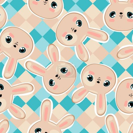 Cute rabbits seamless pattern