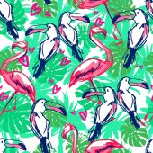 Tropical theme vector background illustration toucan and flamingo pattern Trend design