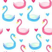 Beautiful drawing swan couple pattern