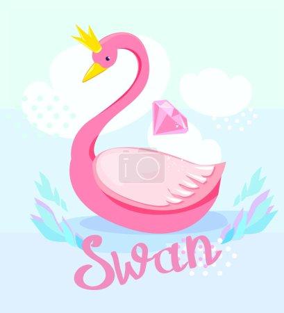 cartoon cute swan with crown