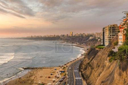 The Pacific coast of Miraflores in Lima, Peru