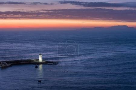 Lighthouse on the Pacific coast of Miraflores at night in Lima,