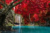 Waterfall in deep forest , Erawan waterfall National Park
