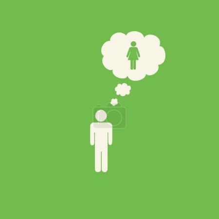Photo pour Transgenre mâle à femelle graphique sur fond vert . - image libre de droit