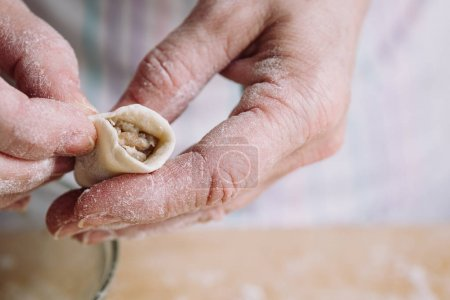 Photo for Close-up image of two womans hands making meat dumplings. - Royalty Free Image