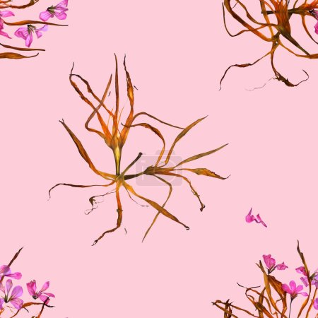 Background texture made of lily, geranium and place for text