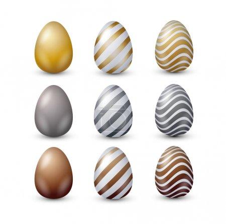 Metallic easter 3d decorated eggs vector set