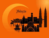 Set in the style of a flat design on the theme of Malaysia