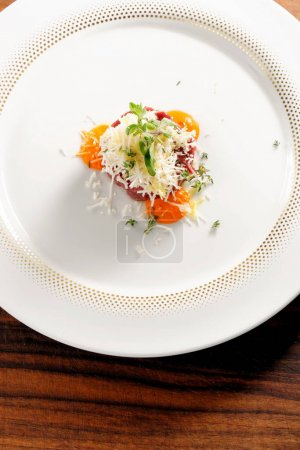 Photo for Fine dining, beef fillet tartare with horseradish - Royalty Free Image