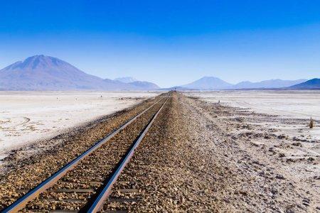 Train tracks on Bolivian salar