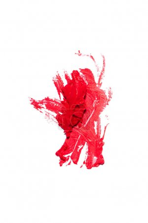 Beautiful saturated red lipstick on white background.